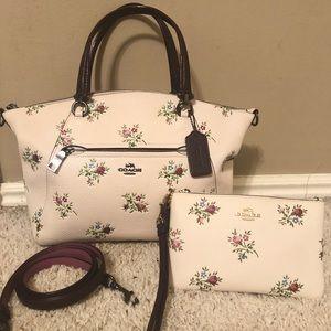 Coach floral prairie satchel w/matching wristlet